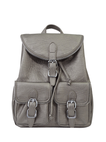 Hot Zipper Front Pockets Buckles Backpack SILVER GRAY