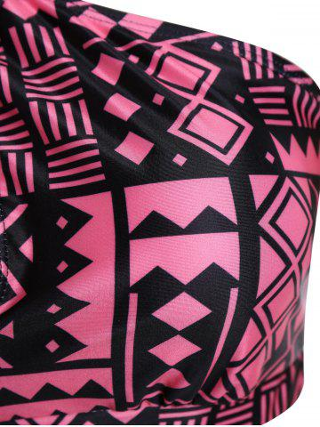 Outfit Plus Size Keyhole High Waisted Two Piece Swinsuit - 3XL BLACK AND PINK Mobile