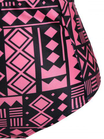 Chic Plus Size Keyhole High Waisted Two Piece Swinsuit - 3XL BLACK AND PINK Mobile