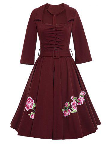 New Belted Flower Patchwork Flare Dress - 2XL WINE RED Mobile