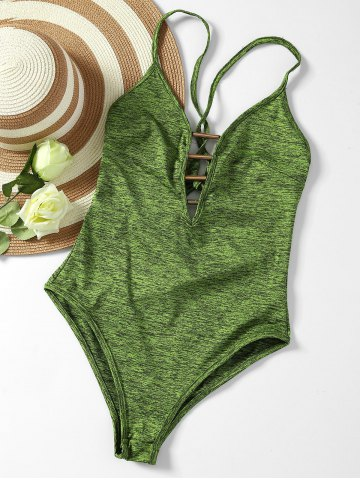 Chic Plunge Lace Up Monokini ARMY GREEN S