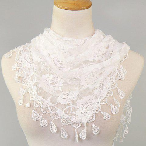 New Waterdrop Embroidery Tassel Pendant Lace Triangle Rose Scarf - WHITE  Mobile