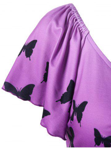 Outfits Empire Waist Butterfly Asymmetric Tee - 2XL PURPLE Mobile