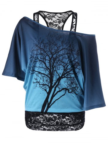 New Lace Panel Skew Collar Tree Print T-Shirt BLUE AND BLACK 2XL