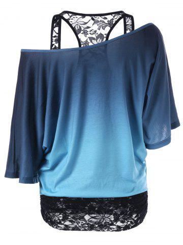 Store Lace Panel Skew Collar Tree Print T-Shirt - 2XL BLUE AND BLACK Mobile
