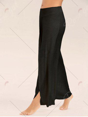 Trendy High Slit Palazzo Pants - BLACK 2XL Mobile