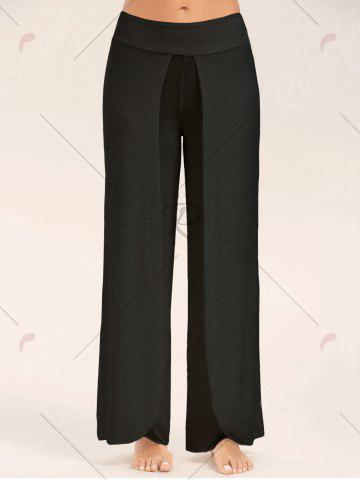 Fancy High Slit Palazzo Pants - BLACK 2XL Mobile
