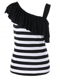 Overlay One Shoulder Striped T-Shirt -