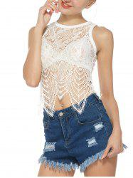 See Through Eyelash Lace Tank Top