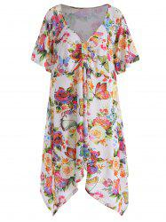 V Neck Plus Size Butterfly Print Top