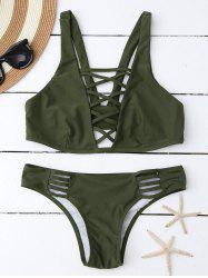 Lace Up Plunging Neck Bikini - ARMY GREEN L