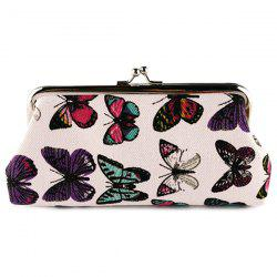 Kiss Lock Butterfly Print Clutch Bag - WHITE
