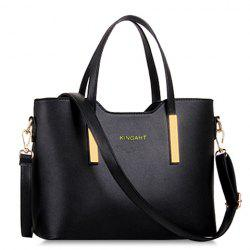 Stunning Metallic and Solid Color Design Women's Tote Bag - BLACK