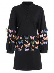 Long Sleeve Butterfly Print Plus Size Dress