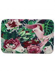 Floral Bird Coral Fleece Non Slip Bathroom Rug