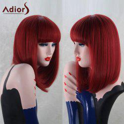 Adiors Long Full Bang Straight Synthetic Bob Wig - RED