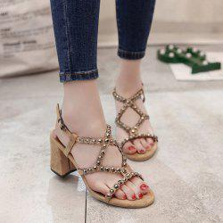 Studded Block Heel Sandals - APRICOT