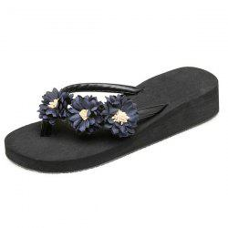 Flowers Faux Leather Slippers - BLACK