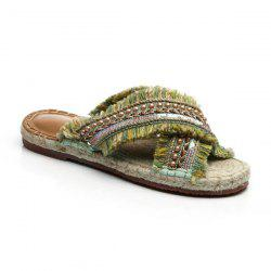 Weaving Color Block Espadrilles Slippers - CELADON