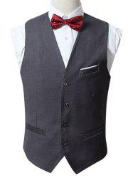 Slim Fit Button Up Waistcoat Formal - Gris 3XL