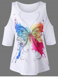 Cold Shoulder Butterfly Pattern T-Shirt