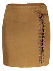 Faux Suede Lace Up Skirt - KHAKI