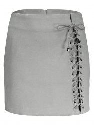 Faux Suede Lace Up Skirt - GRAY L