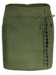Faux Suede Lace Up Skirt - GREEN 2XL