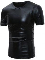 Short Sleeve Metallic T-Shirt - BLACK