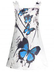 Butterfly Print Ruffled Mini Summer Dress