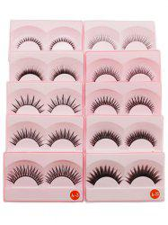 10 Pairs Lengthening Criss Cross False Eyelashes - BLACK