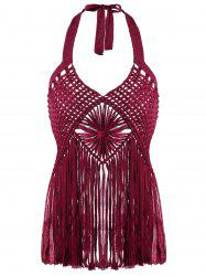 Halter Neck Crochet frangée Cover-ups - Rouge Vineux