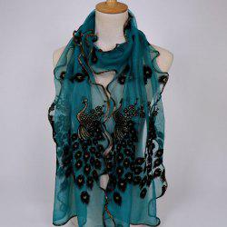 Fine Gauze Peacock Floral Embroidery Chiffon Scarf - CYAN