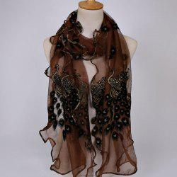 Fine Gauze Peacock Floral Embroidery Chiffon Scarf - COFFEE
