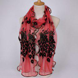 Fine Gauze Peacock Floral Embroidery Chiffon Scarf