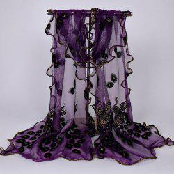 Fine Gauze Peacock Floral Embroidery Chiffon Scarf -