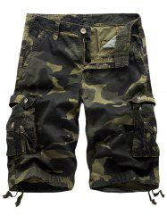 Multi Pockets Camo Cargo Shorts - ARMY GREEN CAMOUFLAGE