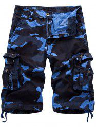 Multi Pockets Camo Cargo Shorts - BLUE CAMOUFLAGE