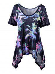 Cold Shoulder Palm Asymmetrical T-Shirt