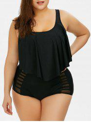 Plus Size Flounce High Waist Bottom Bikini - BLACK