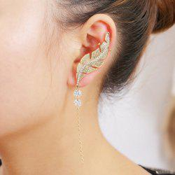 ONE PIECE Faux Diamond Leaf Cuff Earring