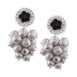 Alloy Ball Engraved Flower Drop Earrings