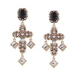 Rhinestone Resin Geometric Crucifix Earrings
