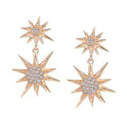 Rhinestoned Sun Flower Earrings