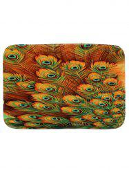 Coral Fleece Peacock Feather Print Bath Mat