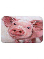 Cute Piggy Print Coral Fleece Bath Mat