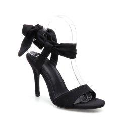 Lace Up Stiletto Heel Bow Sandals