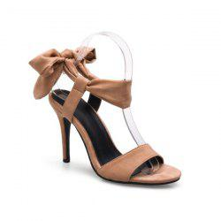 Lace Up Stiletto Heel Bow Sandals - LIGHT BROWN