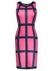 Gingham Print Sleeveless Bodycon Dress