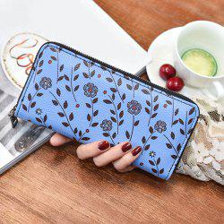 Zip Around Floral Print Clutch Wallet - BLUE